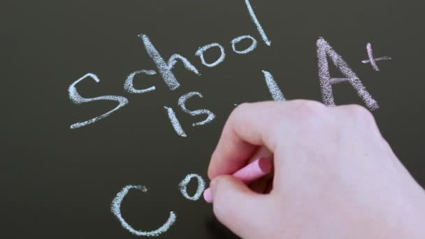 A hand writes with chalk on a blackboard inscription school is cool, back to the school concept