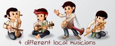 4 musicians Thai cartoon characters.