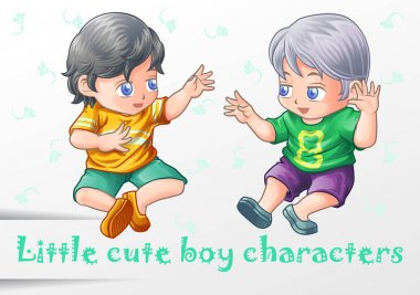 2 little cute boy characters.