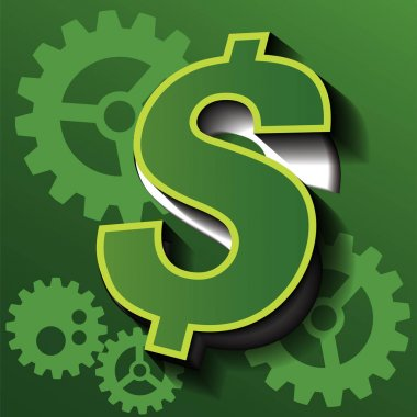 Vector symbol of business are money and gear.