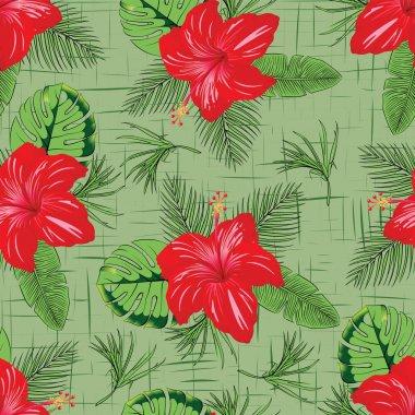 """Картина, постер, плакат, фотообои """"Тропический красивый цветок с оставить бесшовные узор"""", артикул 270963676"""
