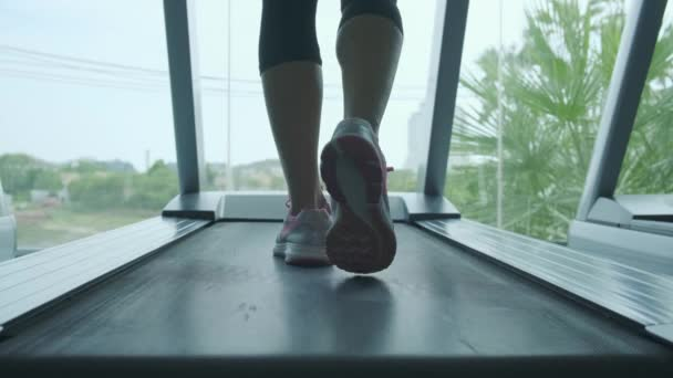 womans muscular legs on treadmill in the gym, closeup.
