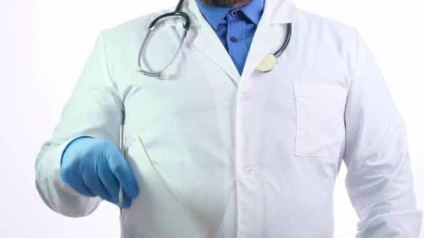 Nice chubby doctor with a beard in a white coat