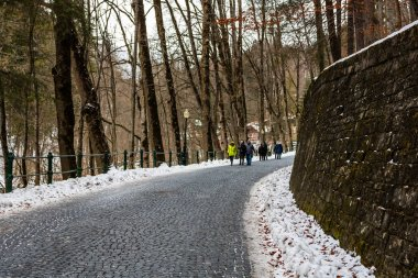 Tourist couple on their way to Peles Castle in Sinaia, Romania. Icy road in a forest.