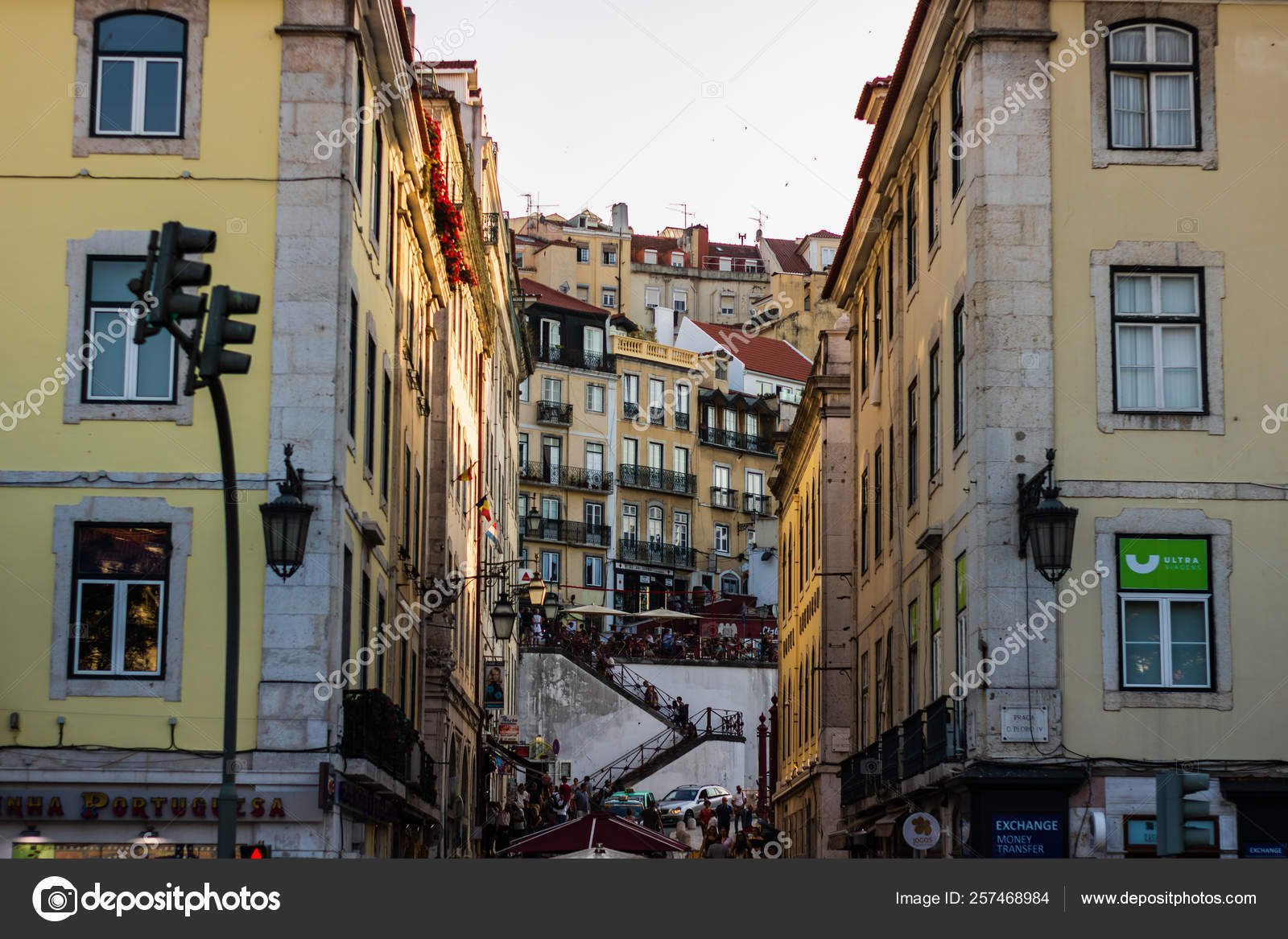 Lisbon Portugal 2019 Local Restaurant And The Stairs