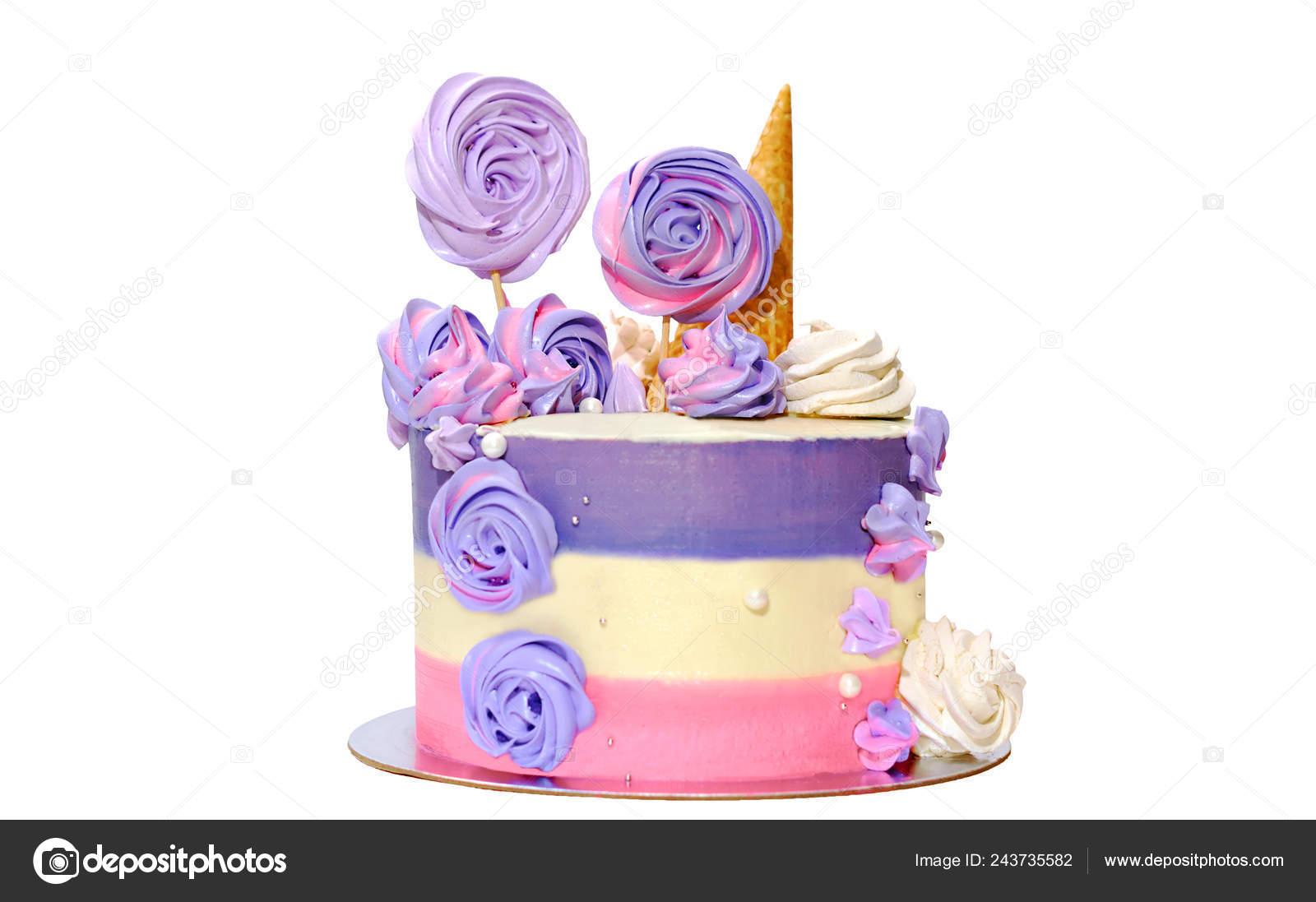 Phenomenal Pink And Purple Birthday Cake Birthday Cake Colored Stripes Pink Birthday Cards Printable Opercafe Filternl