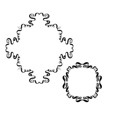 set of vintage ornate frames. hand-drawn vector illustration on white background