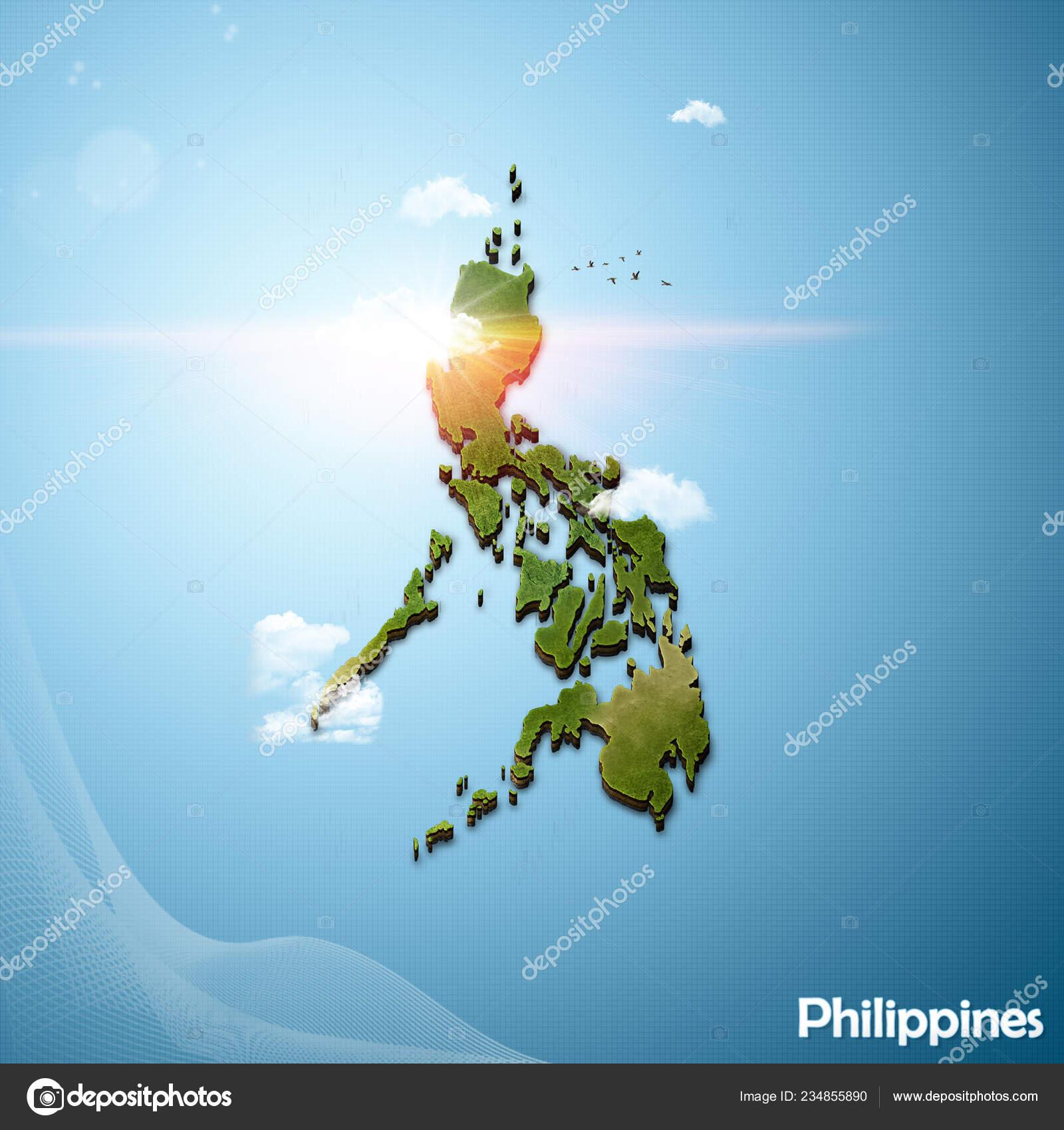 Realistic Map Philippines Illustration Island Style — Stock ...