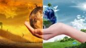 női kezében tartja a Föld gömb, 3D-s illusztráció