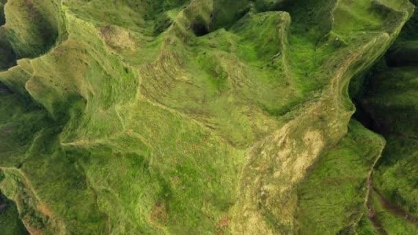 Cinematic 4K aerial green mountains ridge of world-famous Na Pali Hawaii island