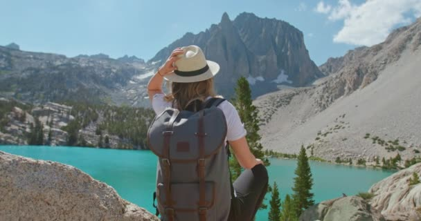 Woman admiring nature. Back view of traveler and scenic mountain lake scenery 4K