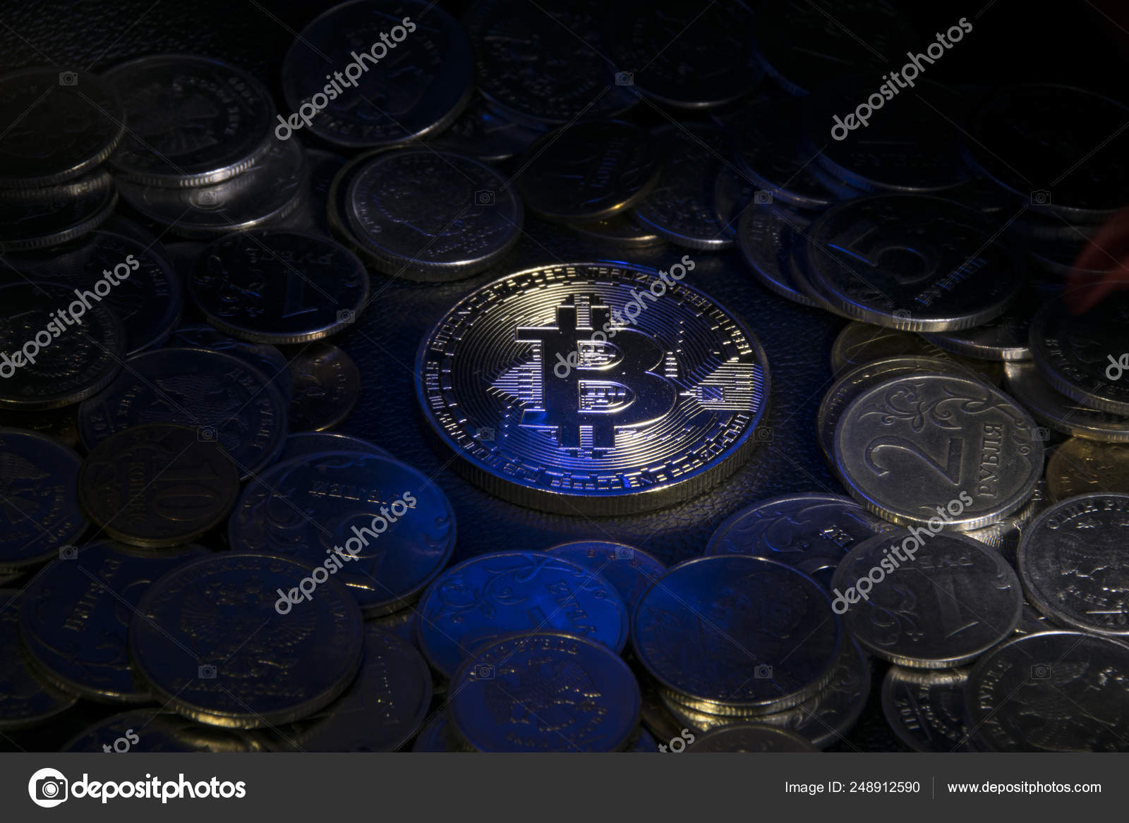 Gold Coin Bitcoin Surrounded Other Coins Beam Light Blue