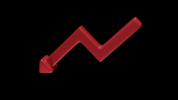 Rotating red downward arrow as a symbol of failure on black background. 3D Rendering.