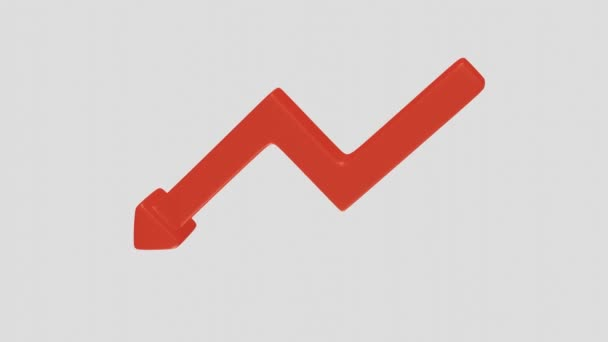 Rotating red downward arrow as a symbol of failure on white background. 3D Rendering.