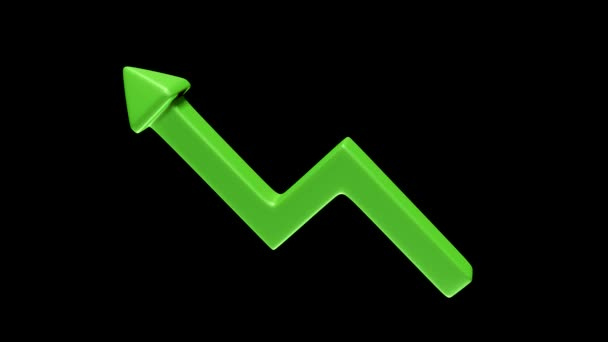 Rotating green upward arrow as a symbol of success on black background. 3D Rendering.