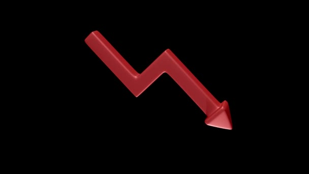 Rotating red downward arrow as a symbol of failure is morphing into green upward arrow as a symbol of success on black background. 3D Rendering.
