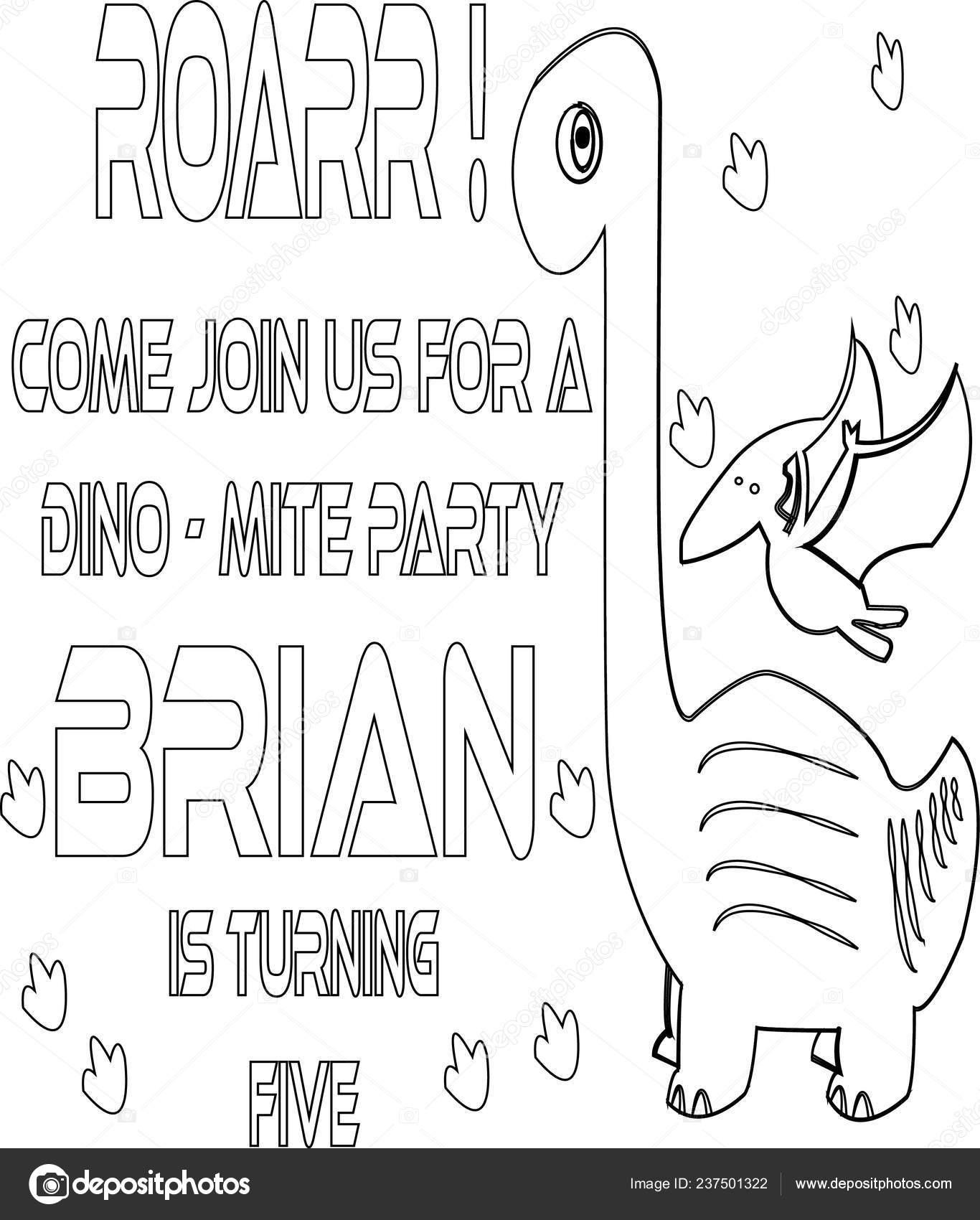 Lindo Dinosaurio Invitación Niños Encantadora Vector Tarjeta