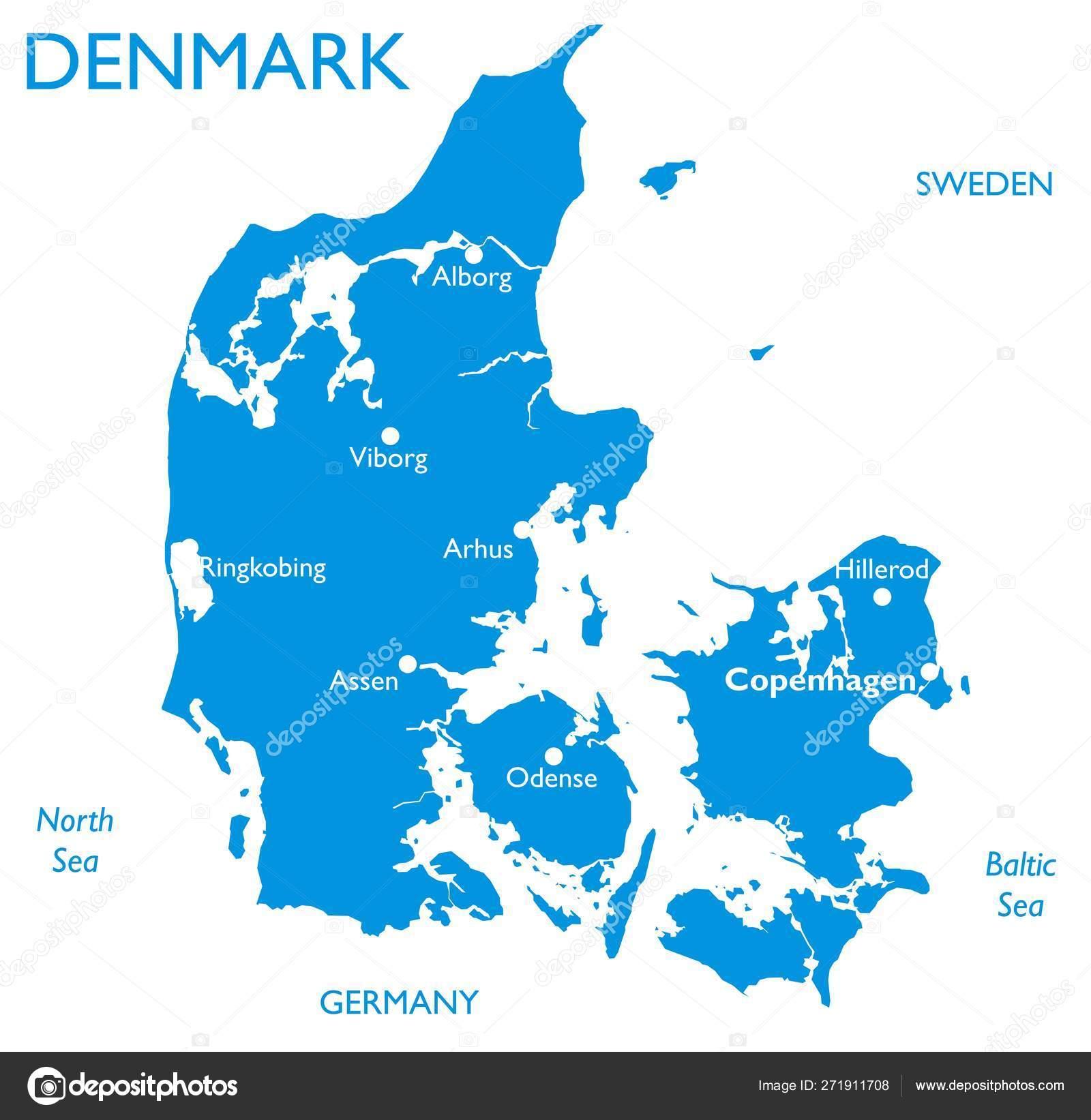 Vector Map Denmark Outline Detailed Map City Names — Stock ...