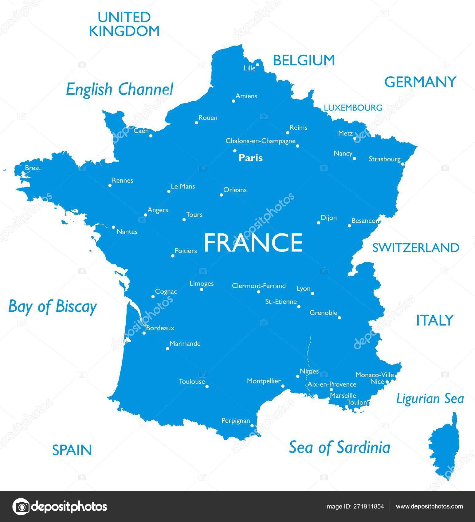 Map Of France With City Names.Vector Map France Outline Detailed Map City Names Stock Vector