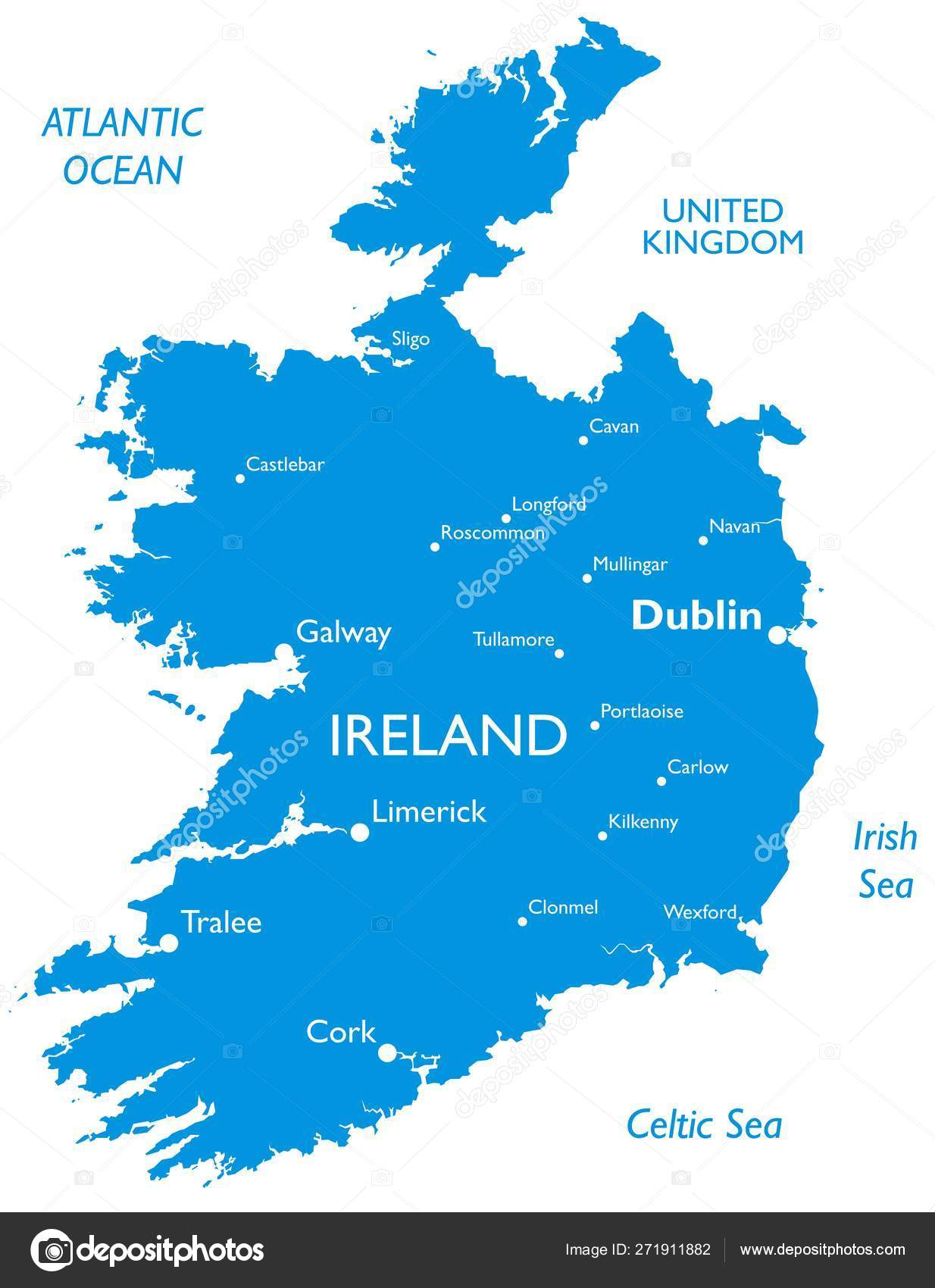 Detailed Map Of Ireland.Vector Map Ireland Outline Detailed Map City Names Stock Vector
