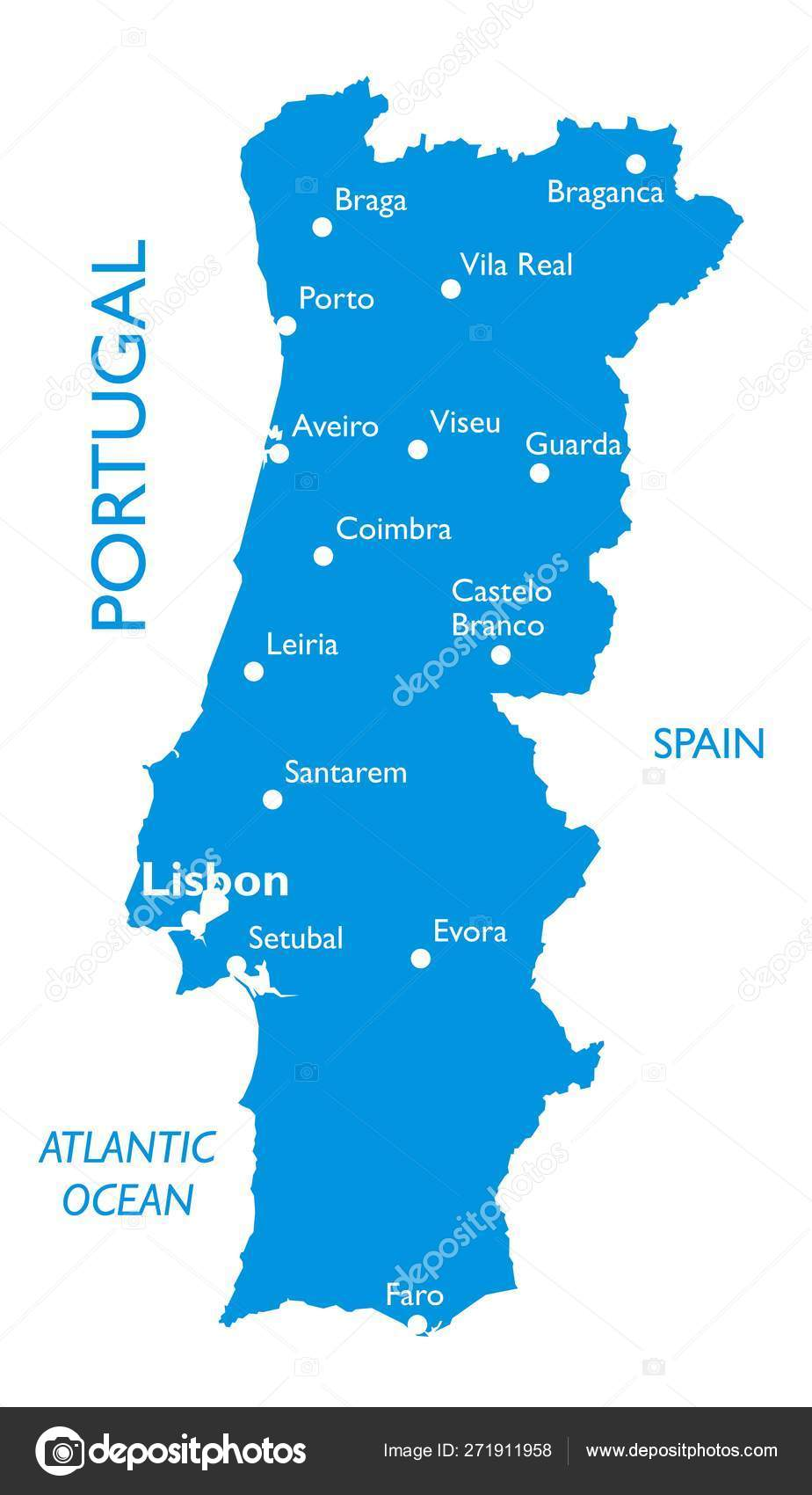 Vector Map Portugal Outline Detailed Map City Names Stock Vector