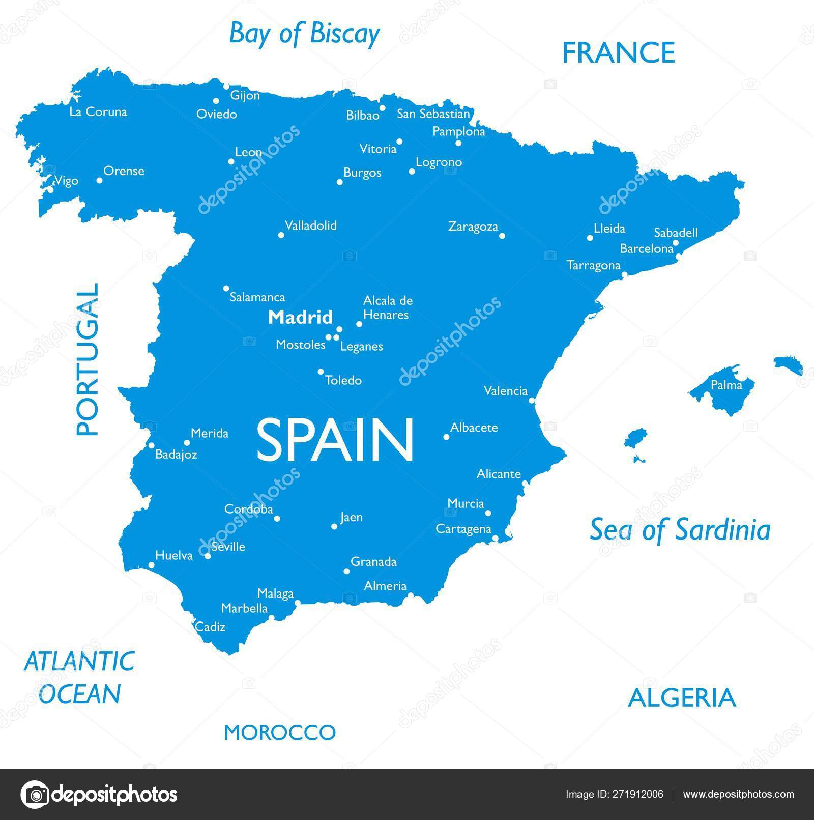 Vector Map Spain Outline Detailed Map City Names Stock Vector