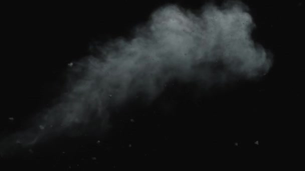Dusty bullet hit on a wall with chunks of debris flying out  White powder  explosion on black background Impact dust particles  Dust explosion in  front of black background, slow-motion close up, vfx