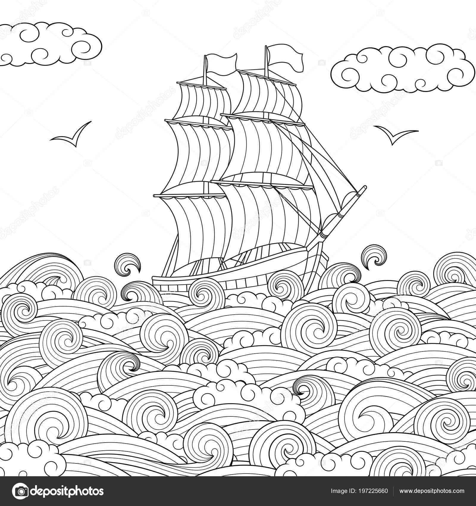 Gemi Yelken çocuk Stok Vektör Andreymakurin 197225660