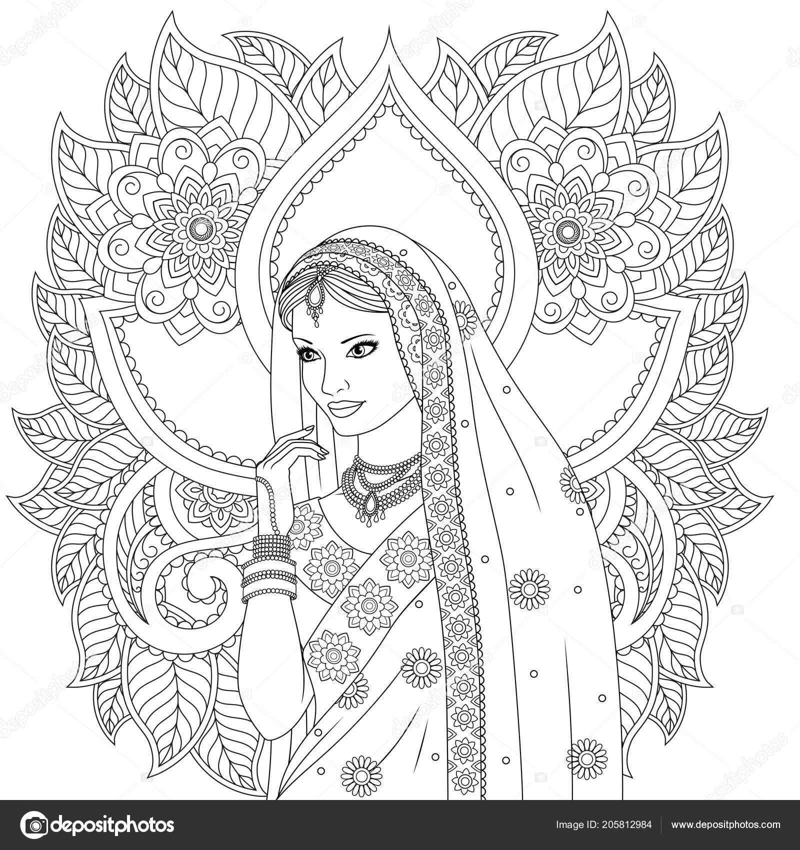 Hintli Kız Boyama Sayfaları Stok Vektör Andreymakurin 205812984