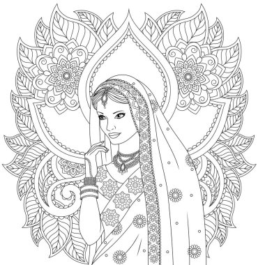 Indian girl coloring pages