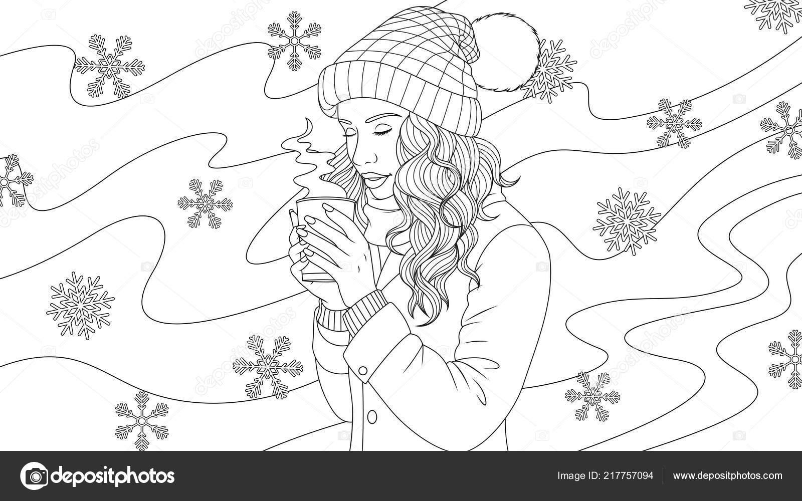 Girl Drinking Coffee Coloring Page Beautiful Girl Drinks