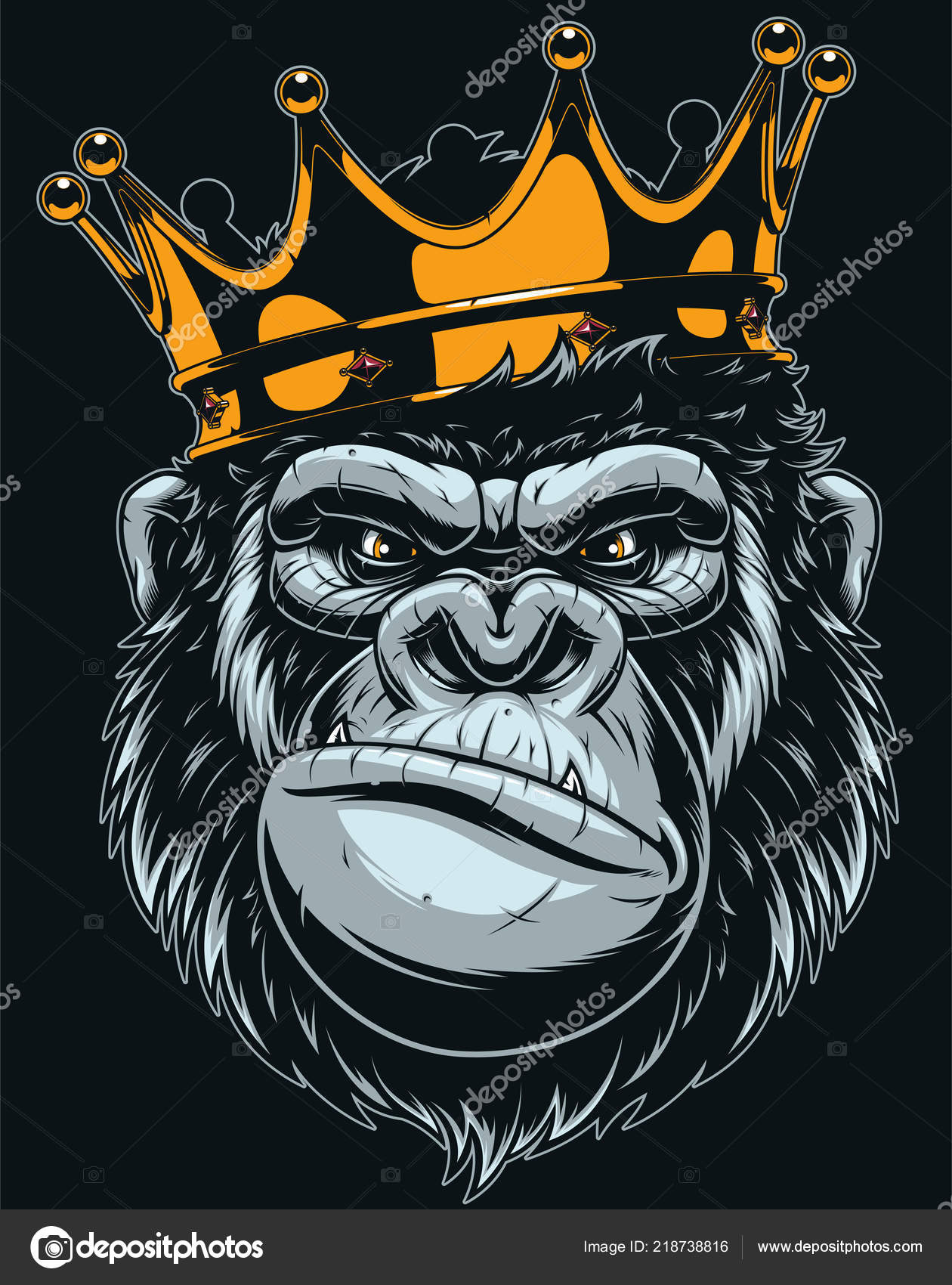 Áˆ Monkey With Crown Stock Animated Royalty Free Gorilla Crown Vectors Download On Depositphotos A cartoon of a monkey with a wrench. https depositphotos com 218738816 stock illustration vector illustration ferocious gorilla head html