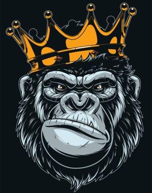 Vector illustration, ferocious gorilla head on with crown, on black backgroun