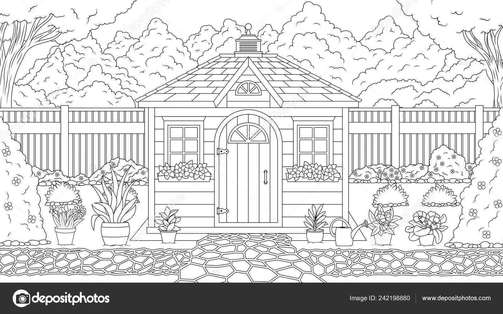 Coloriage De La Maison De Jardin Image Vectorielle Andreymakurin