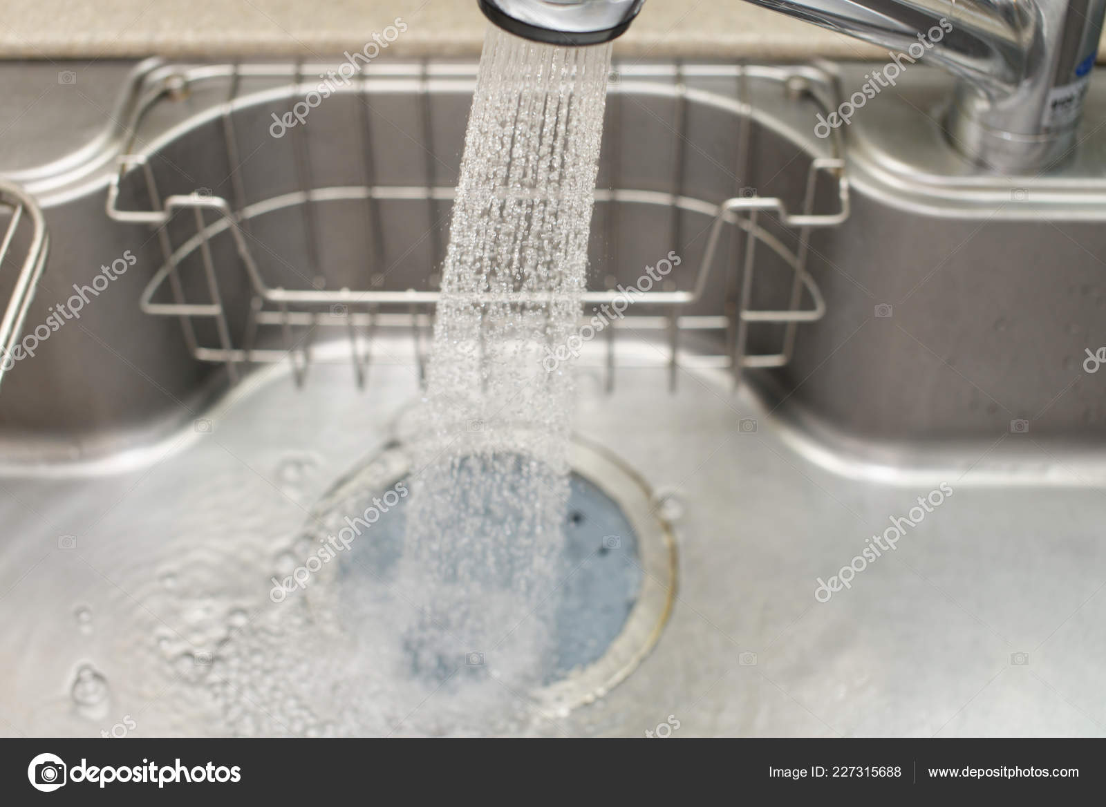 Stainless Steel Kitchen Faucet Sink Running Water Stock Photo C Liza5450 227315688