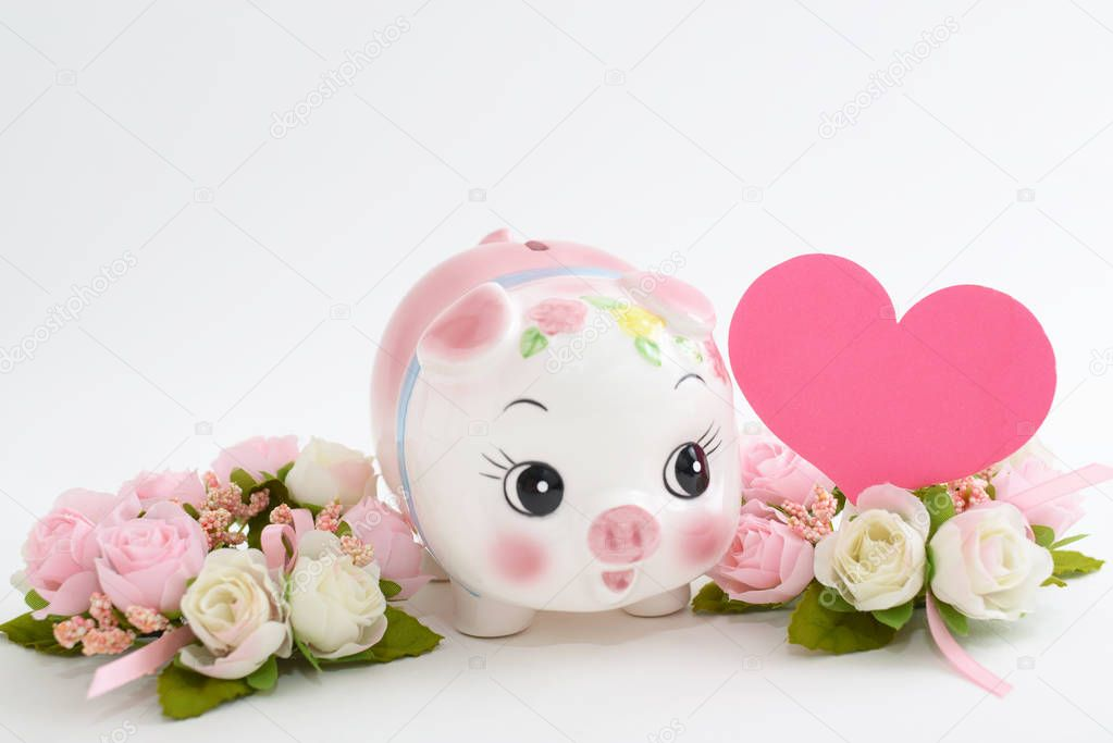 Piggy bank with flowers