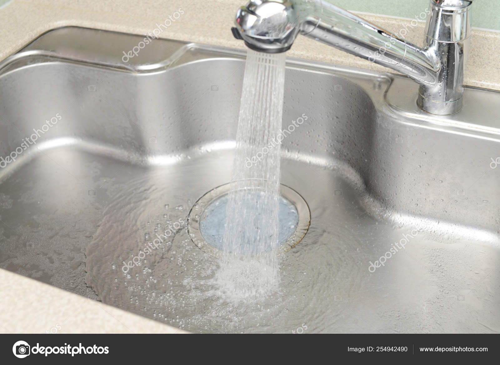Stainless Steel Kitchen Faucet Sink Running Water Stock Photo C Liza5450 254942490