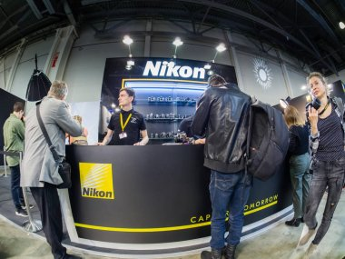 MOSCOW, RUSSIA - APRIL 11, 2019: Booth of Nikon company at PhotoForum 2019 trade show and exhibition in Moscow, Russia on April 11, 2019