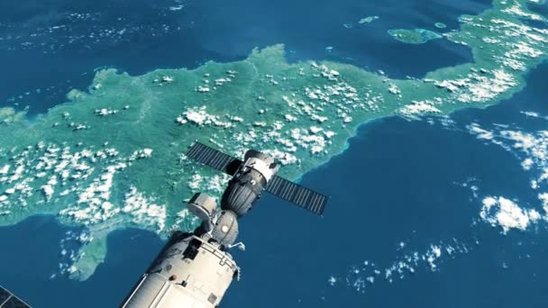 Flight Of International Space Station Over The Planet Earth. 3D Animation.