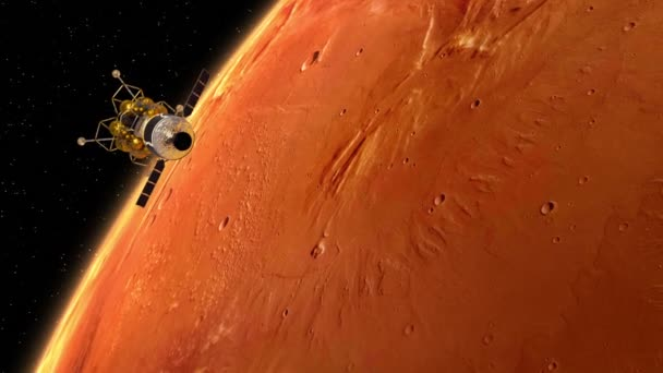 Undocking Of The Space Station And Lander Over The Planet Mars. 3D Animation.