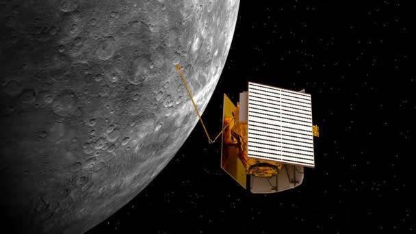 Meziplanetární kosmické stanice nasadí solární panely. 3D animace.