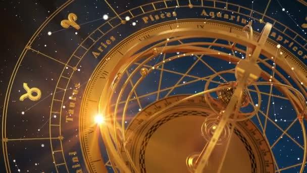 Tierkreiszeichen und Armillarsphäre auf blauem Hintergrund. nahtlose Schleife. 3D-Animation.