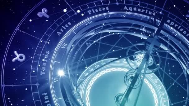 blauer astrologischer Hintergrund. nahtlose Schleife. 3D-Animation.