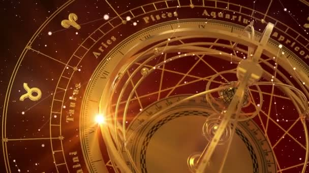 Tierkreiszeichen und Armillarsphäre auf rotem Hintergrund. nahtlose Schleife. 3D-Animation.