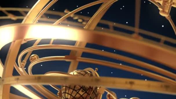 Armillarsphäre und Tierkreiszeichen auf blauem Hintergrund. 3D-Animation.