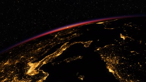 Sonnenaufgang im All. erstaunliche Nachtsicht auf die europäische Zone des Planeten Erde. hochgradig entlarvte 3D-Animation. 4k. 3840x2160.