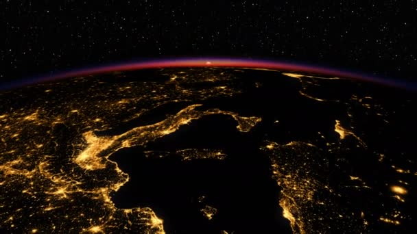 4K. Sunrise In Space. Amazing Night View On European Zone Of Planet Earth. Highly Detaled 3D Animation. 3840x2160.