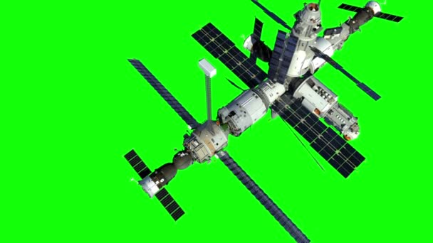 Increasing The Height Of The Orbit Of The Space Station. Green Screen. 3D Animation.