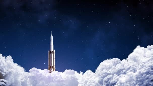 Space Launch System Takes Off On Background Of Blue Sky