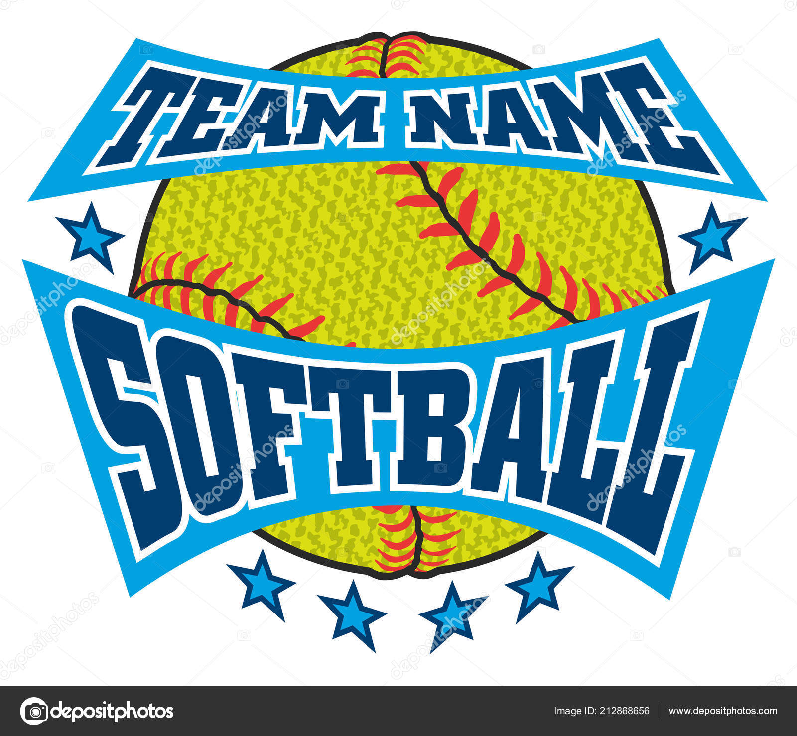 Textured Softball Team Name Design Illustration Softball Design